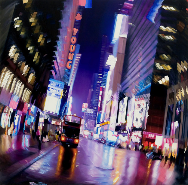 Night Walk in New York City - Saturated Reflection by Alexandra Pacula